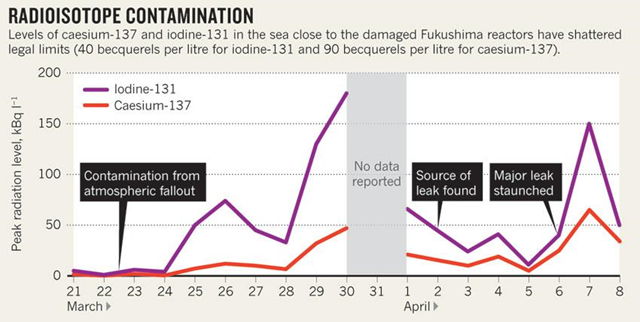 Radioactive releases to the Pacific Ocean from the Fukushima Daiichi nuclear plant, 21 March-8 April 2011. Levels of caesium-137 and iodine-131 in the sea close to the damaged Fukushima reactors have shattered legal limits (40 becquerels per liter for iodine-131 and 90 becquerels per liter for caesium-137. nature.com