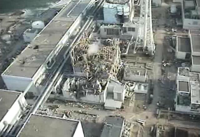 Demolished reactor building of Unit 3 at Fukushima Daiichi Nuclear Power Station, 10 April 2011. TEPCO