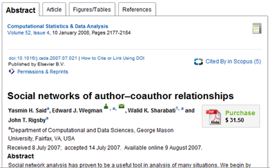 Abstract of the infamous climate denialist paper by Said and Wegmen, 2007. The paper has since been retracted by the journal, Computational Statistics and Data Analysis, for plagiarism.