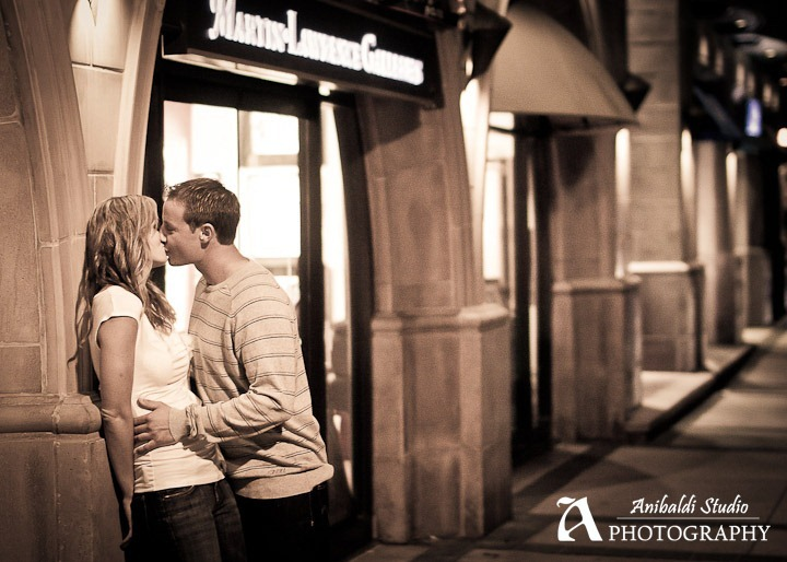 city lights engagement photograph