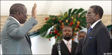 Tsvangirai being sworn in as prime minister