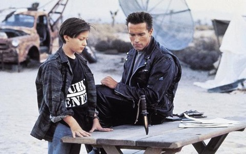 Edward Furlong and Arnold Schwarzenegger: Terminator 2