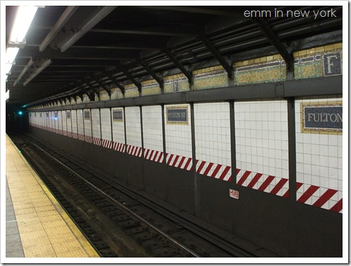 Platform at Fulton Street subway