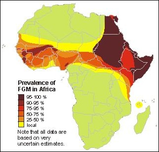 Female Genital Mutilation map of Africa