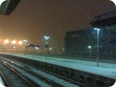 London Bridge Rail Station snow
