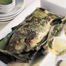 Striped Bass Grilled in Banana Leaves
