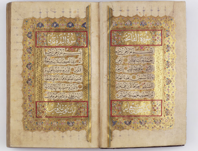 This opening spread of the Koran is illuminated in different tones of gold, with the headings and verse-counts in white and the text, in fine naskh, enhanced by thin interlinear ornament.