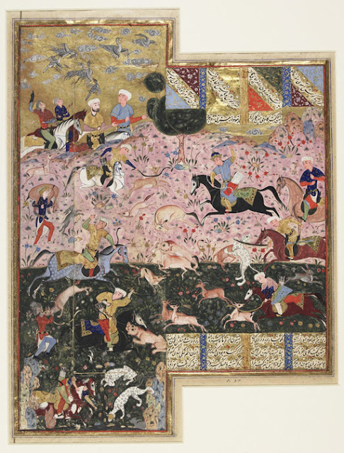 "This painting represents an episode drawn from Nizami's ""Haft Paykar"" (The Seven Thrones), the fourth book of his ""Khamsah"" (Quintet). The great Sasanian king Bahram Gur (r. 430-38), famous for his hunting powers and thus nicknamed ""wild ass"" (Bahram Gur), astonishes his companions with his quasi-divine prowess at hunting onagers."