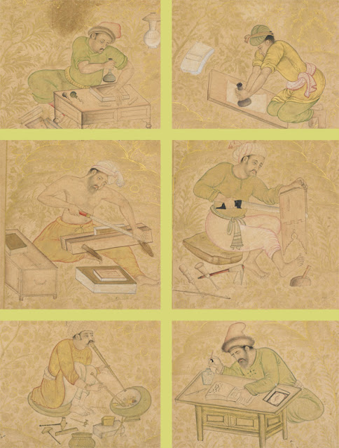 This page once formed part of an album assembled for Nur al-Din Jahangir (ruled 1605-1627), the fourth Mughal ruler of India. The borders, which depict artisans of a library at work, were painted at the beginning of the 17th century. Beginning at the upper-right and moving counterclockwise, the borders show a burnisher smoothing and polishing paper, a stamper creating designs in a leather cover, a sizer trimming the leaves of a manuscript, a woodworker sawing a bookstand, a gilder preparing gold leaf, and a calligrapher writing.