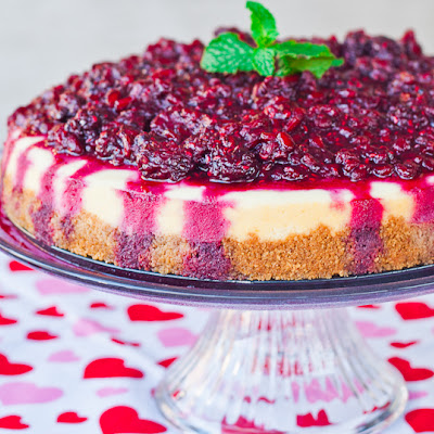Blackberry, Raspberry and Pomegranate Cheesecake