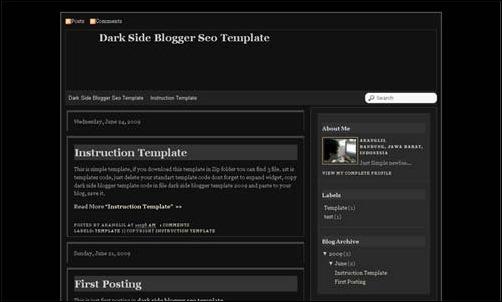 Dark Side Blogger Template