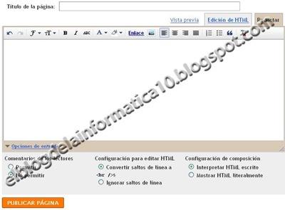 Gadget Páginas en Blogger - Editor páginas nuevas