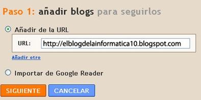 imagen escribir dirección URL del blog que queremos seguir