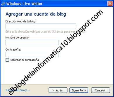 Configuración de la cuenta del blog en Windows Live Writer