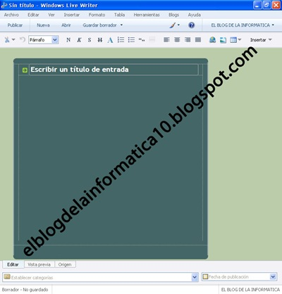 imagen del programa Windows Live Writer