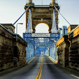 John A. Roebling Bridge by Brad Conrad - Buildings & Architecture Bridges & Suspended Structures ( structure, blue, bridge, architecture, bridges, roads, street photography )