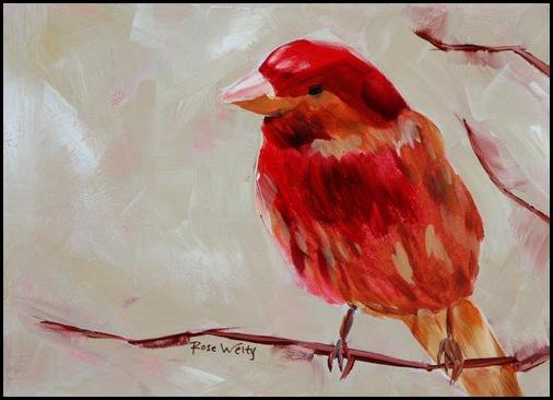 Spring Bird acrylic painting