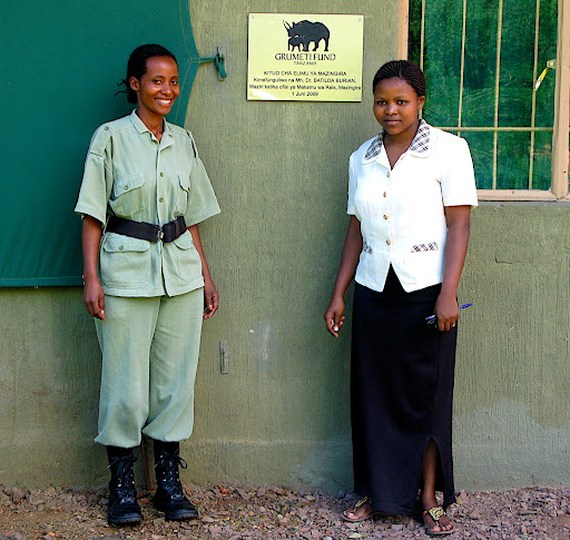 Editha (security) and Stella (the Grumeti Fund Environmental Centre's second in command)