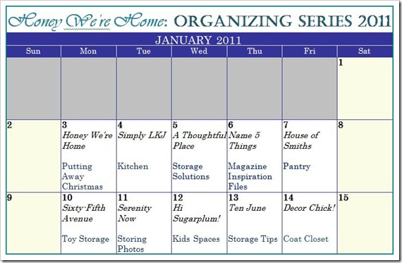 Calendar HWH Organizing Series