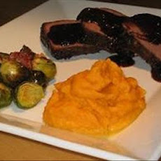 Orange Glazed Roast Buffalo With Garlic Roasted Brussels Sprouts