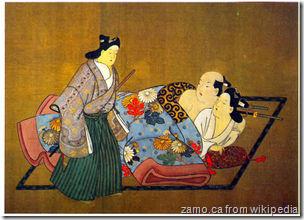 Trei samurai. Miyakawa Choshun (1682–1753). Panou de la un sul erotic, pictura pe matase