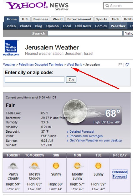 Yahoo Weather Erases Ariel, Israel From Map
