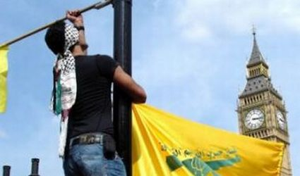 British Muslims Raise Hezbollah Flag