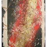« l'incendie » souche n°3 linogravure sur papier fait maison -pièce unique- 20×45cm 200€