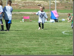 Brynn, age 5 playing in her first soccer game