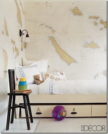 Decorating ideas using maps for Elle decor nursery