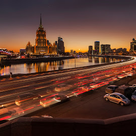 Moscow lights by Olga Parshina - City,  Street & Park  Skylines ( water, lights, traffic, sunset, moscow, cityscape, road, sunlight, river, city,  )