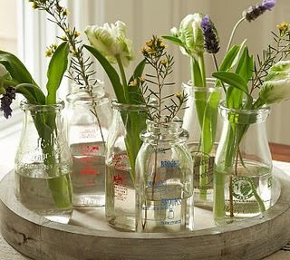 milk bottles centerpieces