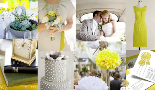 Summer Wedding Colors Grey and Chartreuse