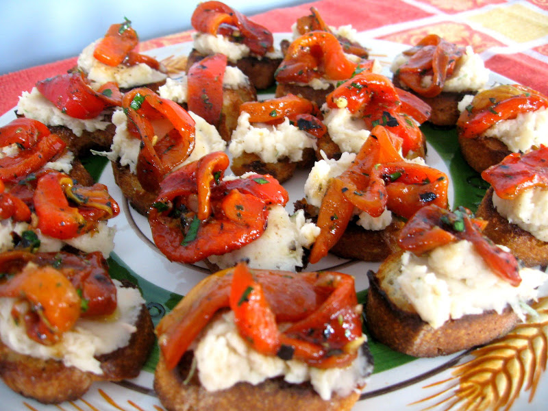 crostini with cannellini bean spread and roasted peppers