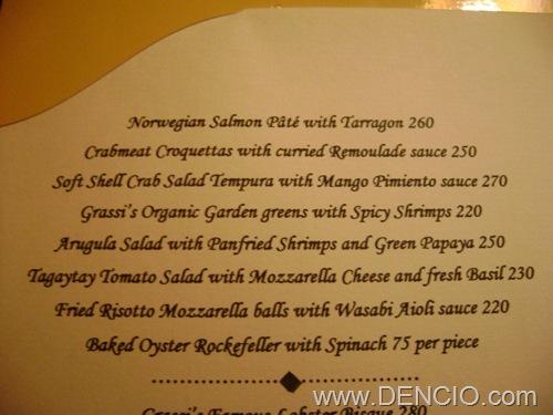 Grassi's Menu01