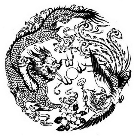 In China the fictional dragon Pinyinl ng and the phoenix Pinyin f ng