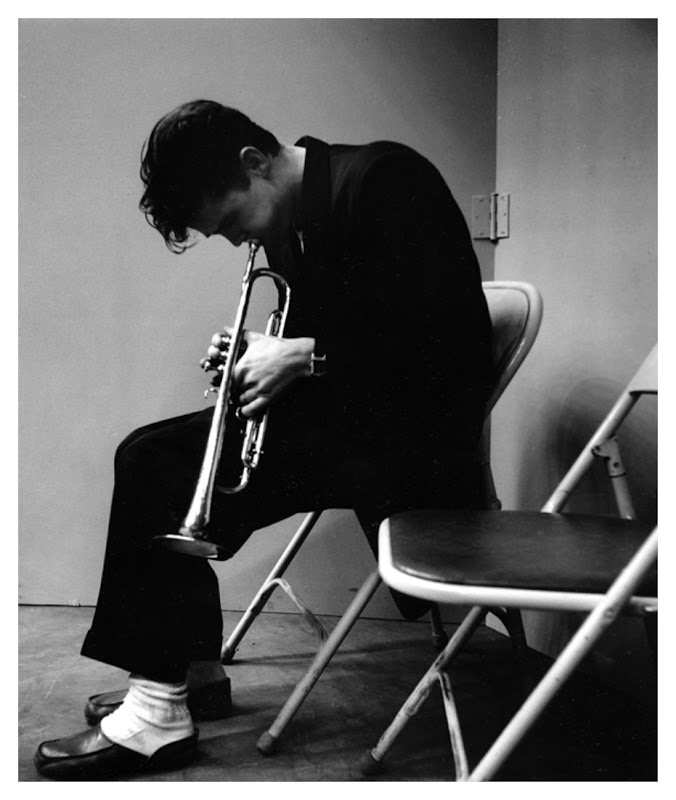 Chet Baker trumpet towards floor los angeles-record session 1953 Bob Willoughby's Photo.jpg