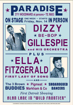 Dizzy Gillespie and Ella Fitzgerald 1947 Reproduction Concert  Poster.jpg