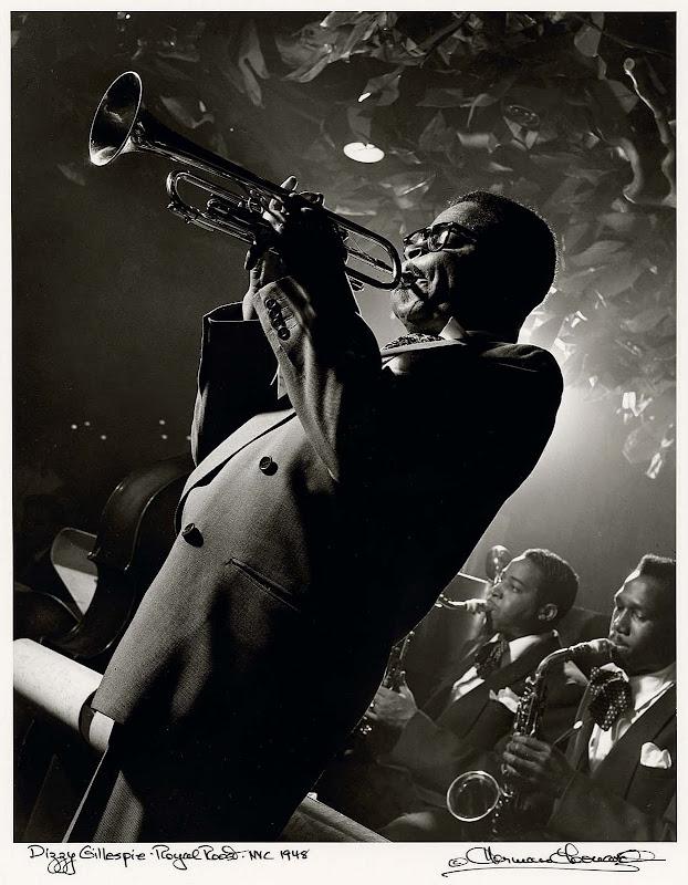 Dizzy Gillespie, Royal Roost, NYC, 1948 Herman Leonard.jpg