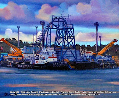 tug ''Edi'  and OES barge at Glebe Island Wharf from Jacksons Landing Pyrmont oil painting by artist Jane Bennett