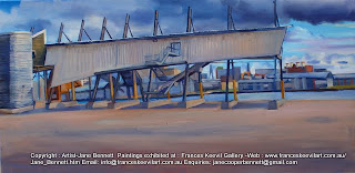 plein air oil painting of gantry of demolished cruise ship terminal Wharf 8 at the Hungry Mile now called Barangaroo by maritime heritage artist Jane Bennett