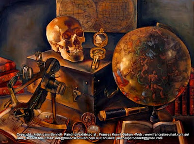 still life vanitas oil painting of maps sextant compasses & other antique navigation instruments by heritage artist Jane Bennett