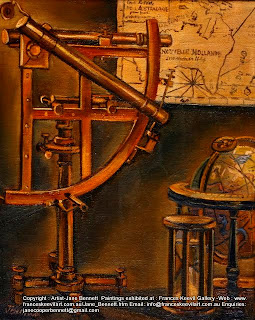 still life vanitas oil painting of sextant maps and other antique navigation instruments by heritage artist Jane Bennett