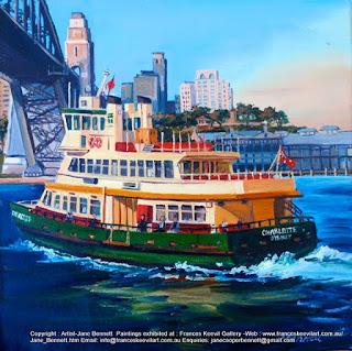 marne art, Sydney Harbour Bridge with Sydney ferry 'Charlotte'  oil painting by artist Jane Bennett