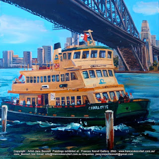marne art, Sydney Harbour Bridge with Sydney ferry 'Charlotte'  oil painting by artist Jane Bennett