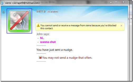 Block & Unblock MSN chat contact