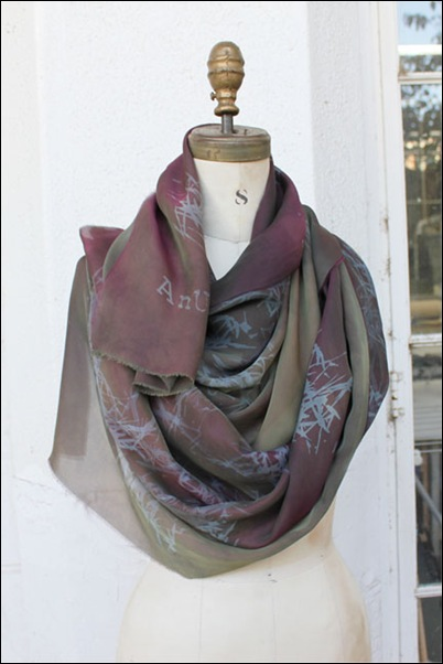 Hand dyed,Silk screened Scarves