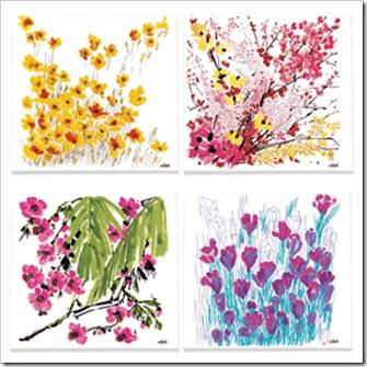 vera neumann flower canvass print set