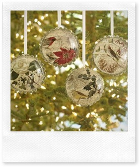 bird decoupage christmas ornament