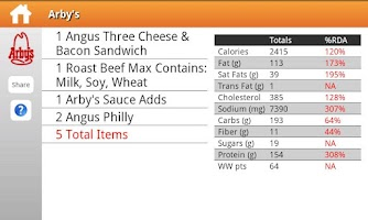 Screenshot of Fast Food Nutrition